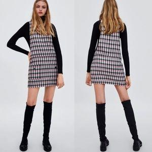 ZARA Metallic Thread Tweed Pinafore Dress